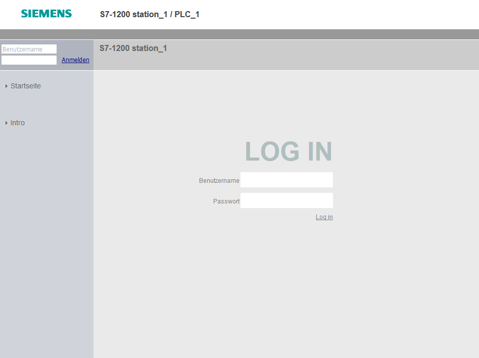 Simatic S7 web app login form