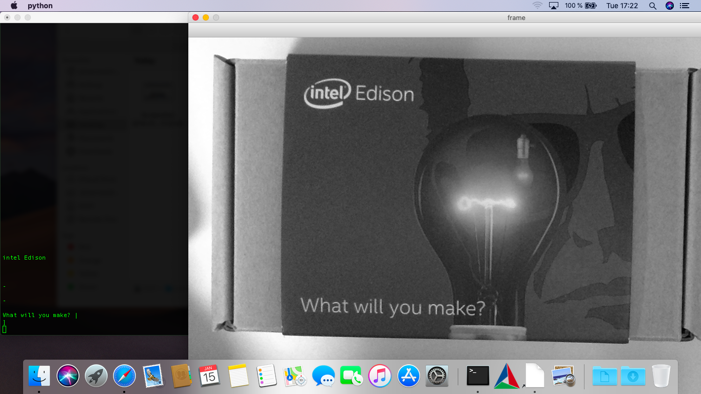 tesseract is detecting the label of a product package: intel Edison