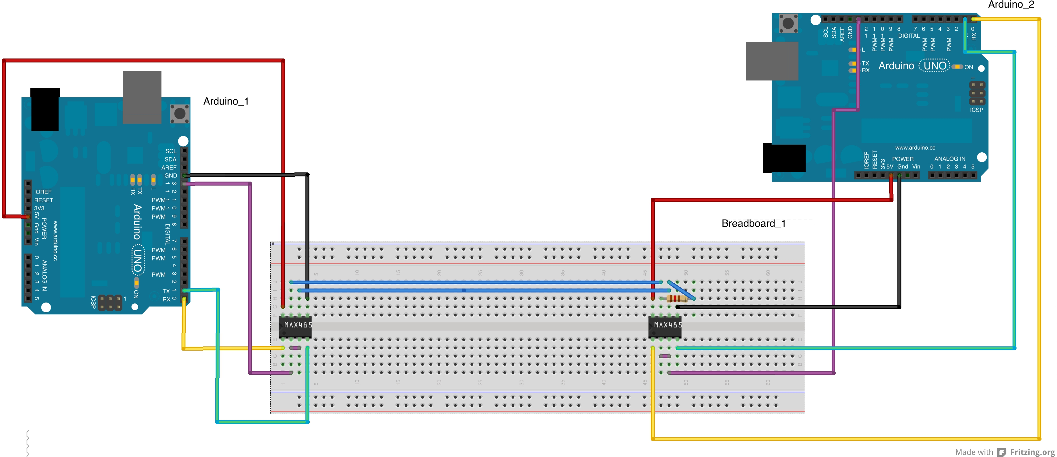 Getting The Arduino On Rs485 Bus Johannes Kinzigs Blog 2 Wire Diagram Communication Breadboard View Arduinors485 Schematic